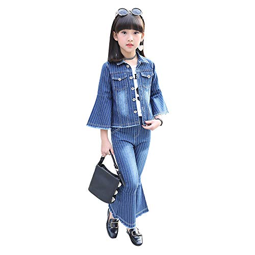 Tuzama Girls Flared Denim 2 Piece Suit Striped Clothing Set Bell Bottom Outfits 3-13 Y (5-6 Years, Blue)