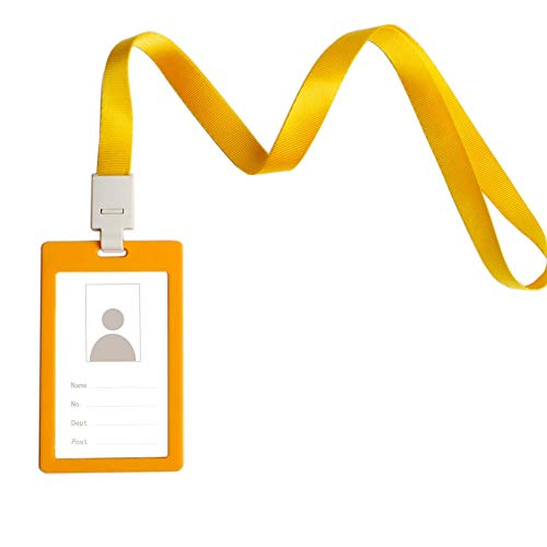 CTZD Badge Holder Identification Sleeve with Detachable Neck Lanyard Matte Tag Vertical Multicolored (Yellow, 1 Pack)