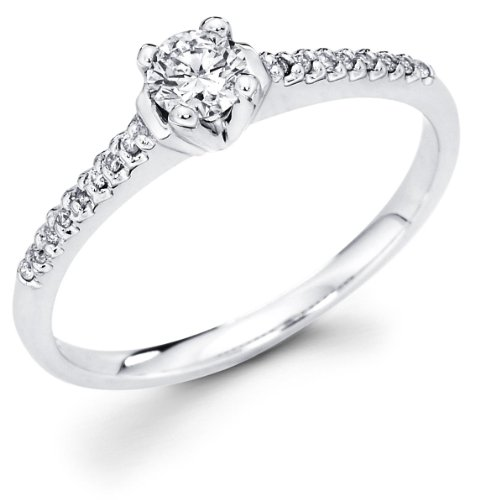 Size - 6.5 - 14k White Gold Solitaire Round Diamond Engagement Ring w/ Micro Pave Set Diamond Side Stones (1/3 cttw, 1/4 ct Center, G-H Color, I1 Clarity)