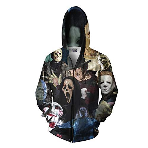 Fmeijia Unisex Hoodies 3D Print Zipper Sweatshirt Horror Printing Couple Sweatshirt Coat Black