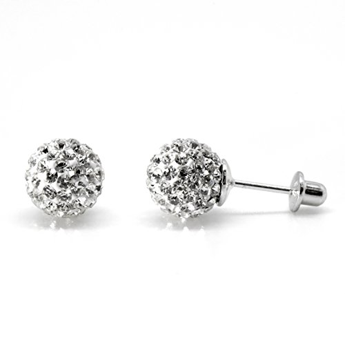 8mm Disco Ball Studs Screw Back Childrens Earrings Simulated Birthstone CZ Sterling Silver -Clear (April Silver Ball)