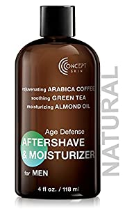 CONCEPT SKIN Aftershave Lotion for Men 4 oz, Organic Moisturizer with Anti aging Caffeine, Grape Seed, Green Tea and Almond Oil - Soothing for Sensitive Skin and Razor Burn -Natural, Paraben Free