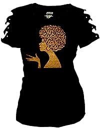 Gold Afro FroLicious,Natural Hair Rocks T-Shirt Ripped Cut Out Short