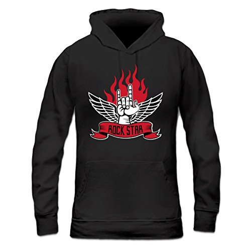 Sudadera con capucha de mujer Rock Star Hand Flame by Shirtcity Negro