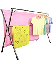 Heavy Duty Stainless Steel Laundry Drying Rack for Indoor Outdoor,Foldable Easy Storage Clothes Drying Rack, Free of Installation Adjustable Garment Rack.