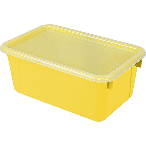 (Storex Small Cubby Bin, with Cover, Classroom Yellow (Case of 5))