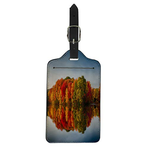 Semtomn Luggage Tag Foliage Fall Colors Reflecting in Pond Water Reflection Leaves Suitcase Baggage Label Travel Tag Labels