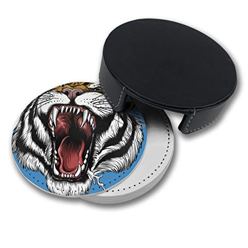 CYMO Roar Tiger Open Mouth of The Tiger Leather Coasters,6 Pcs Coasters for Drinks with Holder, Perfect Housewarming Hostess Gifts, Protect Furniture from Water Marks Scratch and Damage