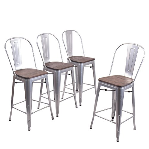 Andeworld Set of 4 Tolix-Style Counter Height Bar Chairs Industrial Metal Bar Stools Indoor-Outdoor, (High Back Silver Wooden, 24 Inch)