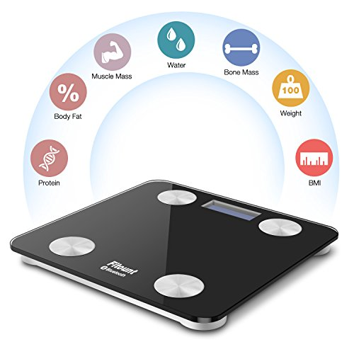 Bluetooth Body Fat Scale,Fitount Smart Wireless Digital Bathroom Weight Gurus Scale Body Composition Analyzer with App for Body weight Body Fat Water Muscle Mass BMI BMR Bone Mass Visceral Fat by Fitount (Image #1)