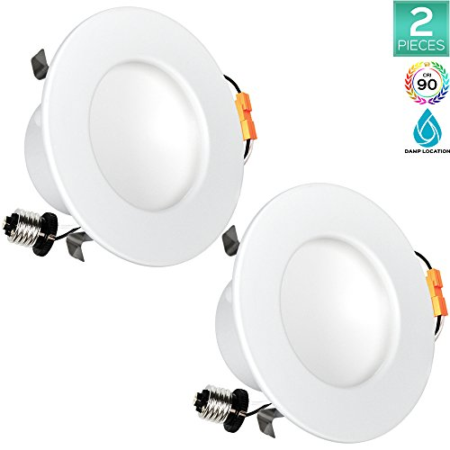 Pack of 2 Luxrite 4 Inch LED Indirect Downlight Fixture, 10W (60W Equivalent), 2700K Warm White, 650 Lumens, 150° Beam Angle, Recessed Can Light, Damp Rated, CRI 90, ETL Listed, E26 Base, Dimmable