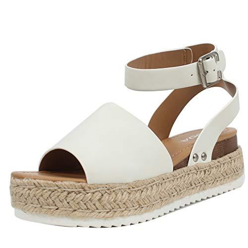 - SODA Women's Open Toe Halter Ankle Strap Espadrille Sandal, White, 75 M US