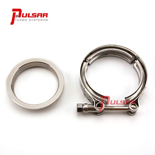 Turbo Flange Discharge - Pulsar Turbo 3 Inch Stainless Steel V-Band Flange Clamp Kit Garrett Precision Turbonetics T4 Frame Turbo Discharge