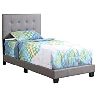 Glory Furniture Caldwell G1306-TB-UP Twin, Light Gray Upholstered Bed,