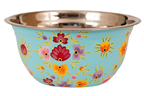 Hand Painted Stainless Steel Bowl - Large Salad Bowl, Fruit Bowl, Mixing Bowl, Decorative, Handmade Floral Art Bowl for Serving and Home Decor, 10 Inch Diameter, 3.8 quart Volume.