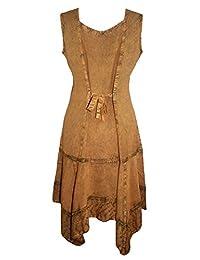 1015 Dr Agan Traders Gypsy Peasant Funky asimétrico dobladillo corto vestido