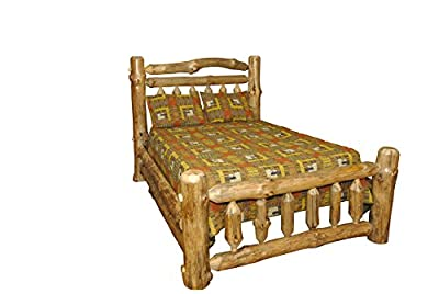 Rustic Pine Log Double Top Rail Bed - QUEEN SIZE - Amish Made in USA