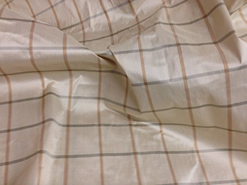 Ivory/gold/black Plaid 100% Silk Dupioni Fabric 54
