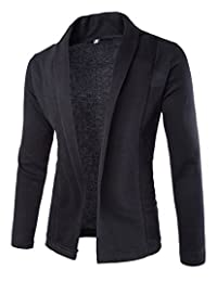 Mens Basic Shawl Collar Knitted Slim Fit Cardigan Sweaters with No Button