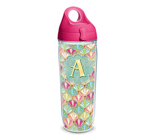 Tervis 1322083 INITIAL-A Multicolored Scallop Insulated Travel Tumbler with Wrap and Passion Pink Lid 24oz Water Bottle - Tritan Clear ()