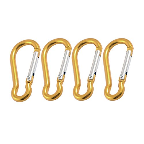 uxcell 4 x Travel Gold Tone Spring Loaded Gate 5mm Dia Carabiner Clip Hooks