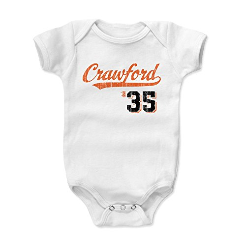 500 LEVEL Brandon Crawford Baby Clothes, Onesie, Creeper, Bodysuit 18-24 Months White - San Francisco Giants Baby Clothes - Brandon Crawford Script - Giants Francisco Body San