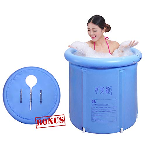 EOSAGA Portable Plastic Bathtub Inflatable Portable Tubs PVC Bath Tub Portable Soaking Tub Inflatable Spa For Adult Bathroom With Air Pump Large Blue ()