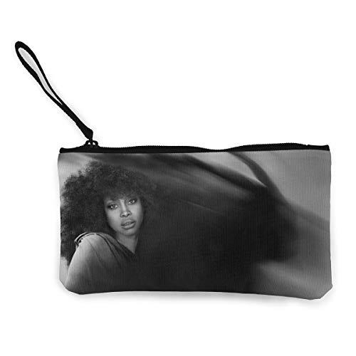 MichaelHazzard Erykah Badu Women Fun Coin Purse Zipper Pouch Wallet Canvas Clutch Wristlet Cellphone Bag With Handle