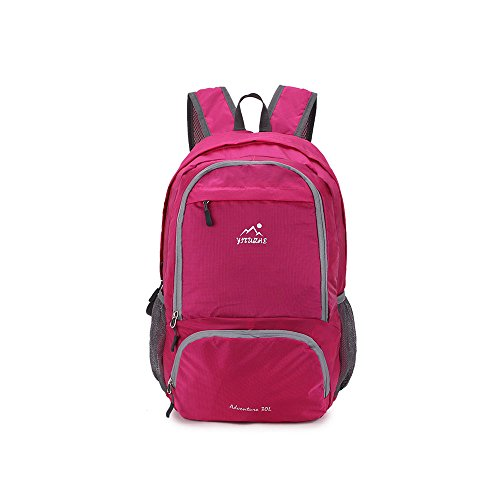 30L Packable Lightweight Daypack-Backpack for Camping,Travel and Daily Usage (Red)