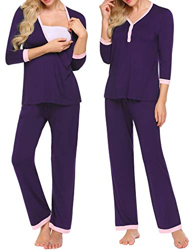 Set Nursing Nightgown - MAXMODA Women's Soft 3/4 Sleeve Nursing Hospital Set Sleepwear Breastfeeding Nightgown Set Purple XXL