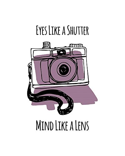 Eyes Like A Shutter Mind Like A Lens Camera Doodle Purple by Color Me Happy Art Print, 18 x 22 inches