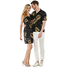 Couple Matching Hawaiian Luau Outfit Aloha Shirt Tank Dress in Black with Gold Leaf