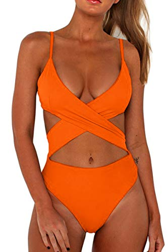 CHYRII Ladies Plus Size Swimsuits for Women Crisscross Front High Waisted One Piece Bathing Suit Orange-2 XL