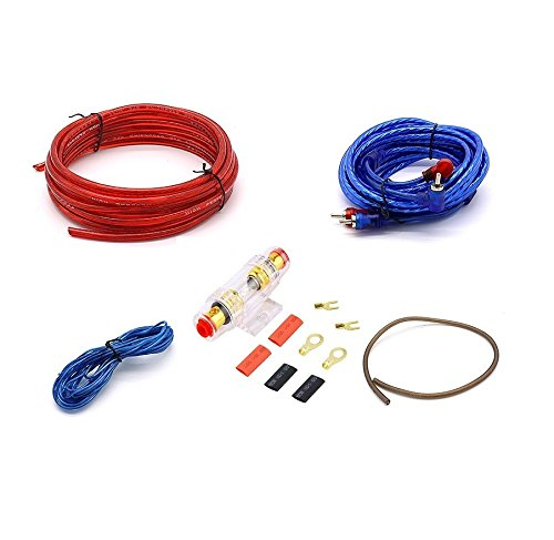 Net_Cafe 1500W 8GA Car Audio Subwoofer Amplifier Installation Kit for Amp Install Wiring Complete RCA Cable  Vga Install Kits