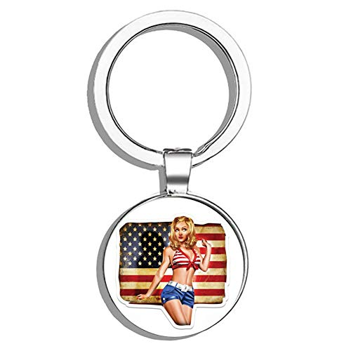 (HJ Media Pinup American Girl Metal Round Metal Key Chain Keychain Ring)