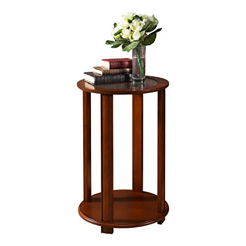 Pilaster Designs - Walnut Finish Wood Accent Side End Table, Plant Stand ()