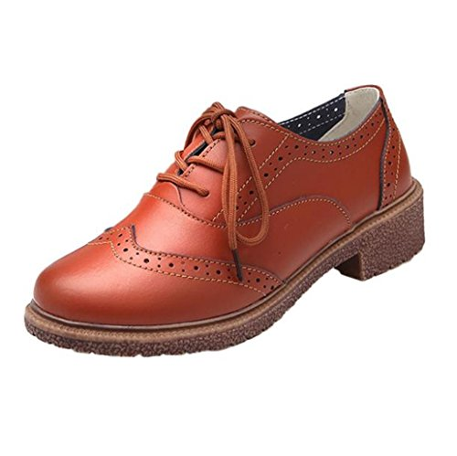 Up Heel Brogue Office Faux Lace Autumn Brown Spring Smart Womens Oxford Low Shoes Vintage Flat Ladies Leather Clode® cwWv40qpn