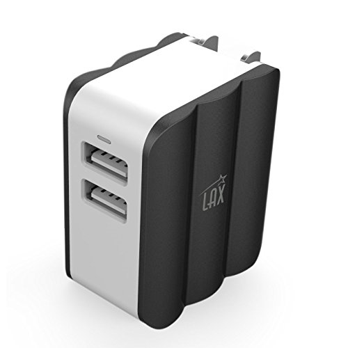 LAX Dual USB AC Power Adapter with Smart iQ Technology - Plug-In Adapter Rapid Charge 3.4A for iPhone X 8 7 7plus 6S 6S+, 6 6Plus, iPad Air/Mini, Samsung Galaxy S6, S6 Edge, Nexus and More [Black]