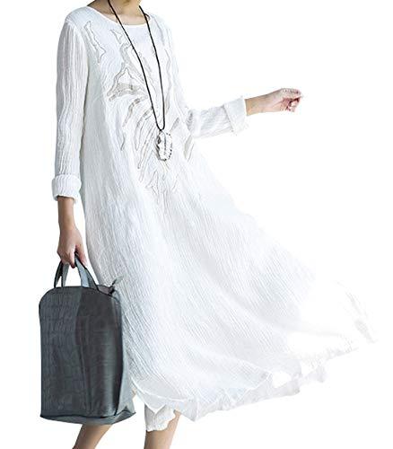 utcoco Women's Casual Crew Neck White Embroidery Cotton Linen Midi Dress (Medium, White)