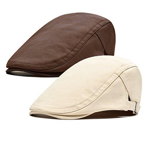 Qossi 2 Pack Men's Cotton Flat Cap Ivy Gatsby Newsboy Hunting Driving Hat (Lightweight Ivy Cap)