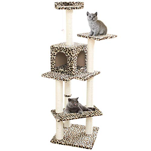 Cat Tree Scratcher Play House Condo Furniture Bed Post Pet House (Leopard Skin 60