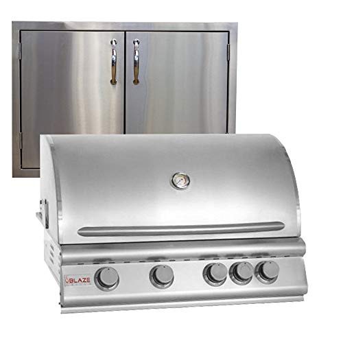Blaze Grills 32 Inch 4-Burner Natural Gas Grill BLZ-4-NG with Made in USA 30″ Double Door Package Deal