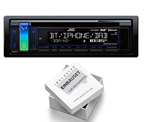 JVC KD-DB98BT 1DIN Radio Bluetooth DAB + Antenne mit Einbauset fü r Peugeot 206 + 206 CC 1998-2007 EHO kddb98bt+RB1EHO383