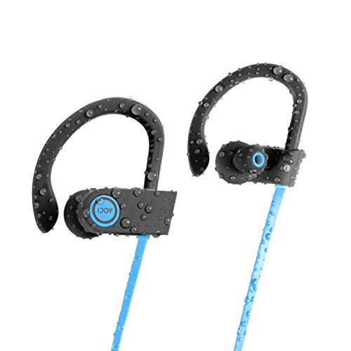 iJoy FS IPX7 Bluetooth Waterproof Sport Earbuds with Mic and Travel Case (Blue)