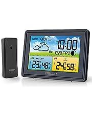 BALDR Väderstation trådlös med utomhussensor, digital utomhus termometer stråle, DCF-radio, digital temperatur fuktmonitor med väderprognos