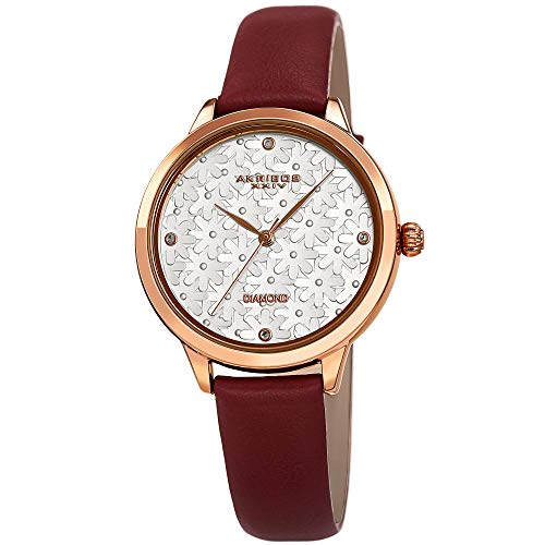 Akribos XXIV Women's Burgundy Leather Watch - Flower Embossed Dial with Genuine Diamond Markers - Comfort Band, Casual and Elegant Design - AK1051BG - Embossed Dial Watch