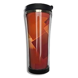 Dark Orange Geometry Abstract Flip Top Lid Double Wall Stainless Steel Mug Hot Cold Tumbler Liquid Tight Travel Coffee Mug Vacuum Sealed Drink Bottle