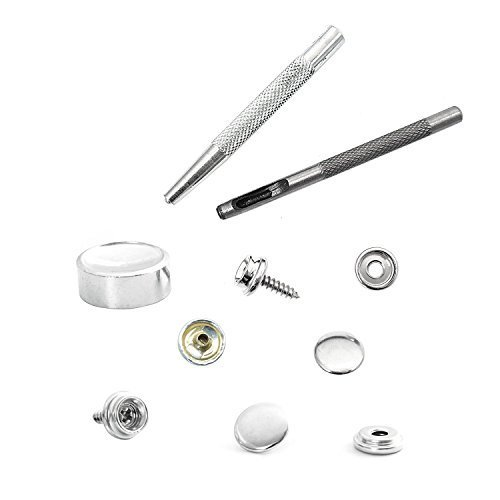 10 X 15Mm Silver Heavy Duty Rust Proof Press Studs Snap Fasteners With Screw Part Studs + Fixing Tool Set Of 6 For Wood To Fabric
