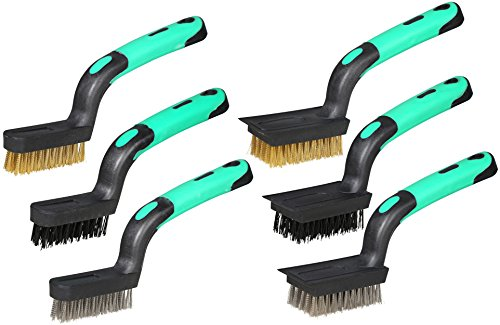 Heavy Duty Wire Scratch Brush - Detailing Wire Brush Set, Heavy Duty, Mini Scratch Brush, Crimped Brass, Stainless Steel, Nylon, With Scraper End, Curved Rubber-Grip Handle, (3) Wide (3) Narrow, Length 7-Inch, 6-Piece.