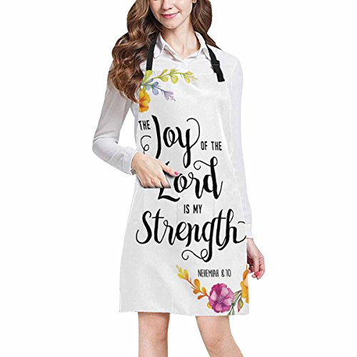 InterestPrint Religious Christian Bible Verse Joy Of The Lord Kitchen Apron - Mens and Womens Bib Apron - Adjustable with Pockets for Cooking Baking Gardening, Large Size